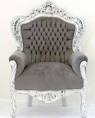 France Baroque Style Armchair - Silver / Grey