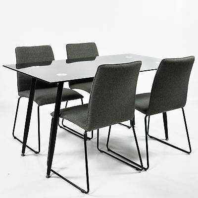 Kitchen Dining Table black glass set with 4 grey fabric chairs new furniture