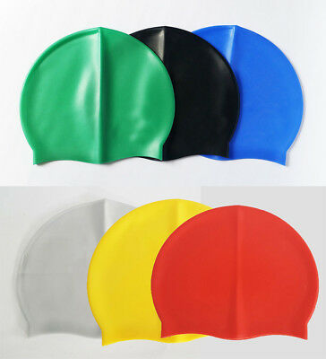 New One Size Fits All Silicone Swimming Pool Cap Waterproof Shower Hat Unisex UK