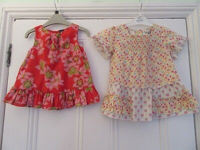 18-24m: 2 cotton summer tops/blouses - Orange floral (Baby Gap) + Yellow (M&S)