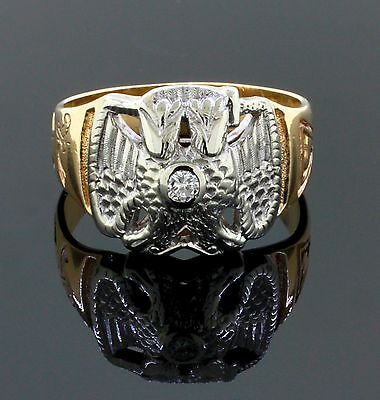 Vintage Mens 32nd Degree Masonic Double Eagle Diamond Ring Solid 14K Gold