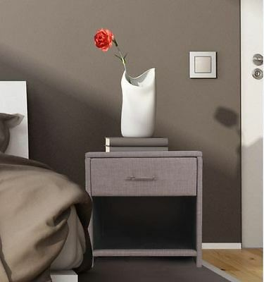 Classic Grey Upholstered 1 Drawer Bedside Table