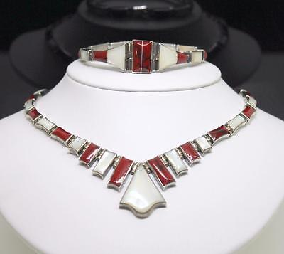 Taxco Mexico 950 Silver Red Jasper MOP Inlay Necklace & Bracelet Matching Set