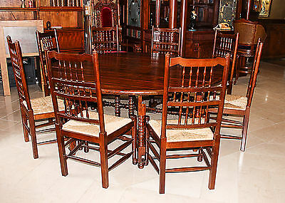 Antique Solid Oak Table 8 Chairs Oak Solid Oak Drop Leaf Farmhouse Large Vintage