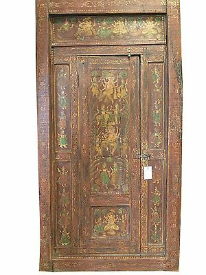 Antique Door Ganesha Hand Painted Vintage Single Door Wooden Indian Furniture
