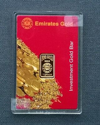 Emirates pretty Rose 1g Mini Gold investment Bar  999.9  Special Delivery GIFT