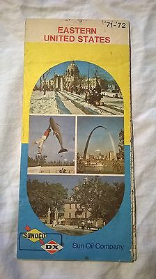 1971-72 Sunoco Oil Gas service station Eastern United States road map VINTAGE