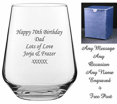 Personalised Engraved Whiskey Brandy Tumbler Glass Birthday Gift 60th 65th 70th