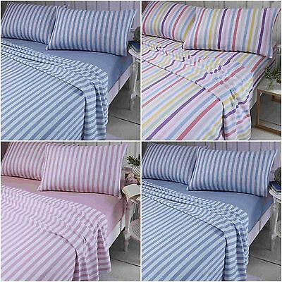 Catherine Lansfield 100% Brushed Cotton Striped Flannelette Sheet Set