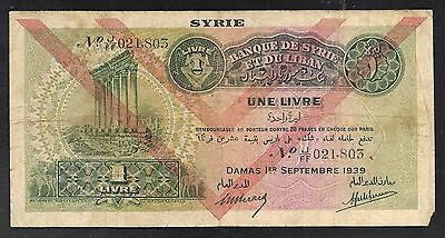 Syria Paper Money - Old 1 Livre note - 1939 - P40 - FINE