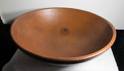 "Antique Large Hand Turned Wooden Bowl 19"" Diameter"