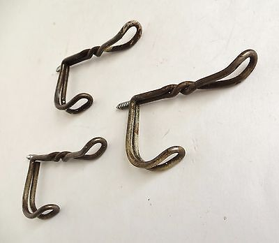 "Lot of three 3"" Vintage Twisted Wire Hat Hooks"