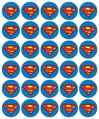 30 x Superman Logo Cupcake Toppers Edible Wafer Paper Fairy Cake Toppers
