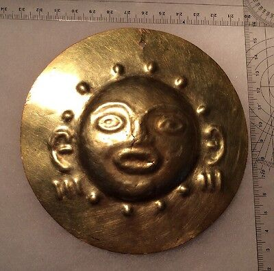 Ancient SINU Pre-Colombian SHAMAN PECTORAL 43 Grams High Kt Gold 500-900AD 5inch