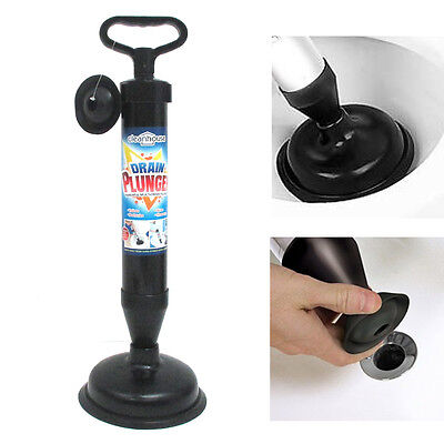 Hand Powered Air Pump Action Drain Plunger Unclog Toilets Sinks Tubs Showers !
