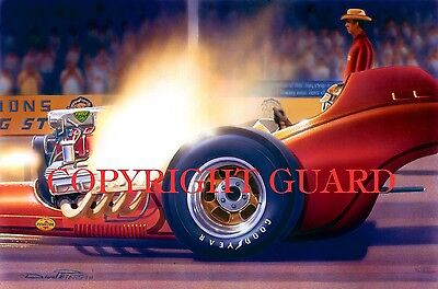 """""""Tanqueray Flambé"""" ......Bobby Tapia and Larry Stellings.... Drag Racing Art"""