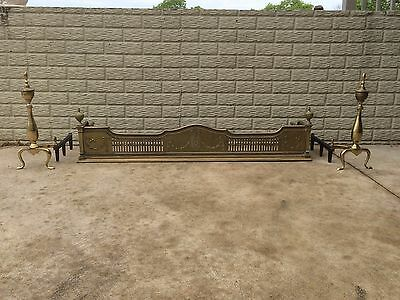 Gorgeous Matching Antique Brass Fireplace Fender and Andirons / Firedogs
