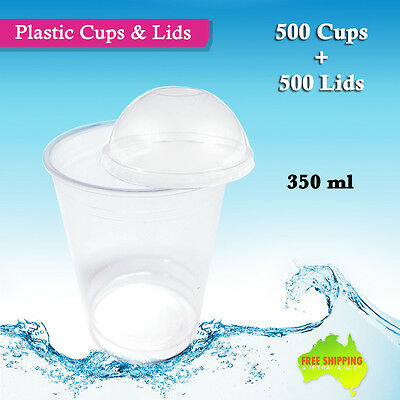 500pc Disposable Plastic Cups and Dome Lids 350ml Drinking Party Glass Bulk Cup