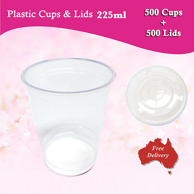 500pc Disposable Plastic Cups and Flat Lids 225ml Drinking Party Glass Bulk Cup