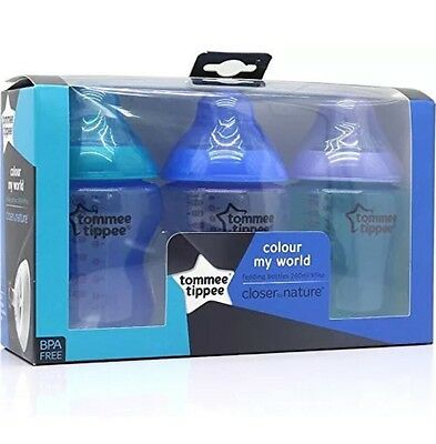 6x Tommee Tippee Closer to Nature Colour My World Feeding Bottles Blue & Green