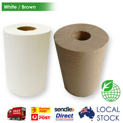 Paper Hand Towels Roll White Bulk Industrial Kitchen Catering 80m 1ply