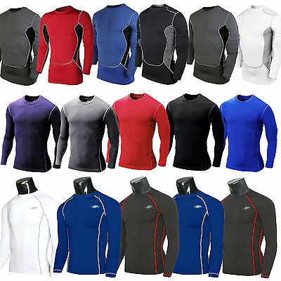 Mens Compression Under Base Layers Armour Long Sleeve Fitness Shirt Jersey Tee