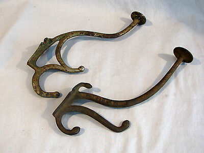Group of 2 ANTIQUE CAST IRON HAT/COAT HOOKS - DIFFERENT STYLES