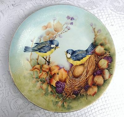 Beautifully Hand Painted Blue Birds with nest Decorative Plate (425)
