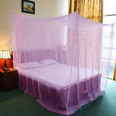 Purple Four Corner Canopy Bed Netting Mosquito Net Full Queen King Size Bedding