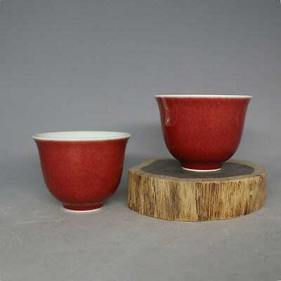 CHINESE OLD QING DYNASTY sacrificial red glaze PORCELAIN PAIR CUPS