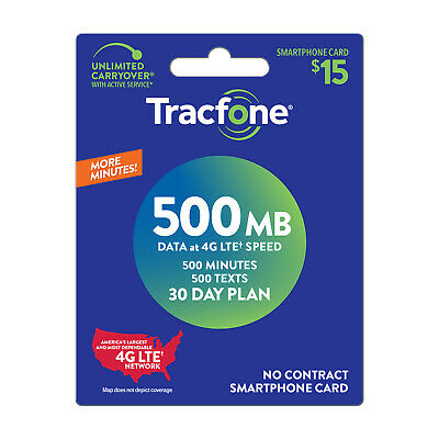 TracFone SmartPhone Plan $15/30Days-200m,500Text,200M,Applied To Phone Directly