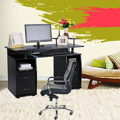 Computer Desk Workstation Table Modern Executive Wood Furniture Office Home New