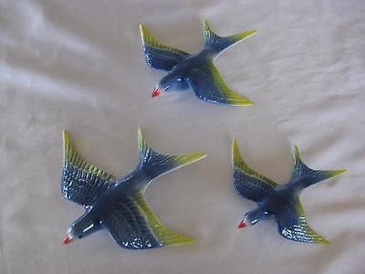 Ceramic Flying Wall Hanging Swallows X 3 - Retro (S315)