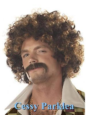 Men's 1970s Disco Stud Wig 70s Costume Party Outfit Retro Hair Style