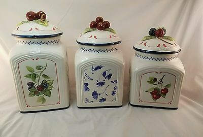 Villeroy & Boch Cottage Country Collection  Porcelain 3 Piece Canister +Lids