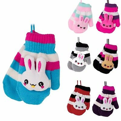 Children Kids Baby Gloves Hanging Knitted Rabbit Stripe Winter Warm Mittens New