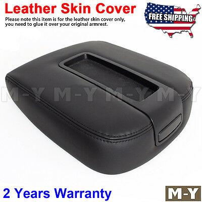 Fits 07-13 Chevy Tahoe, Suburban, Yukon Leather Console Lid Armrest Cover BLACK