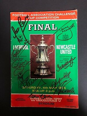 LIVERPOOL 1974 FA CUP PROGRAMME SIGNED x7 CLEMENCE HEIGHWAY THOMPSON TOSHACK COA