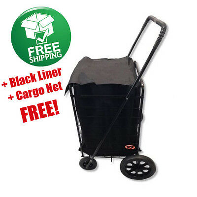 Heavy Duty Shopping Cart Extra Large Rubber Wheels Steel Frame Grocery Laundry