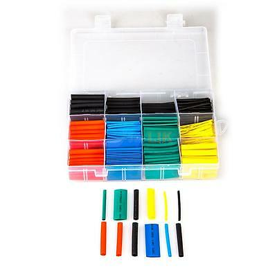 New 530Pcs 2:1 Heat Shrink Tubing Tube Sleeving Wrap Cable Wire 5 Color 8 Size