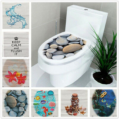 NEW DIY 3D Toilet Seats Wall Stickers Bathroom Decal Vinyl Mural Home Decoration
