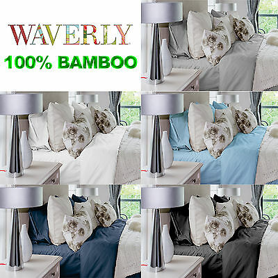 WAVERLY 100% Bamboo Bed Fitted Sheet Set 400TC - Queen King Size
