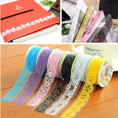 5pcs Roll DIY Washi Paper Lace Decorative Paper Tape Adhesive Sticker Crafts New
