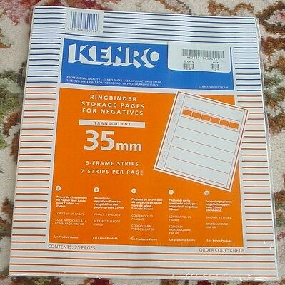 KENRO KNF08 35mm  STORAGE PAGES FOR NEGS 25 PAGES TRANSLCENT & DATA CARD