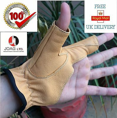Bow Glove Left Hand ( BEIGE ) Bow Real Leather, hunting Shooting Gloves