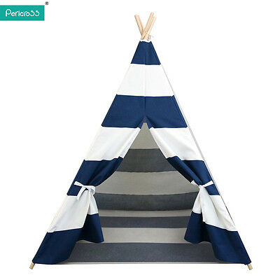 Kids Teepee Tipi Tepee Tent Playhouse Indoor/Outdoor Camping Tent w/Bottom Blue