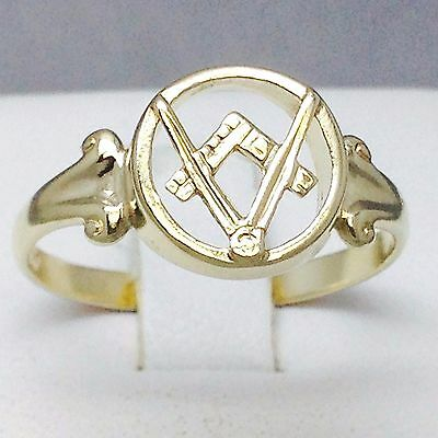 """9Ct Yellow Gold Top Quality Womans Masonic Ring """"size P½"""" 465"""