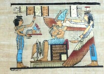 Original Papyrus, Isis Goddess of Marriage, King Tut, Handmade Painting 12x16 Cm