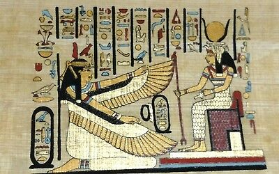 Original Papyrus, Isis Goddess of Marriage, Anubis& Hours, Handmade Painting