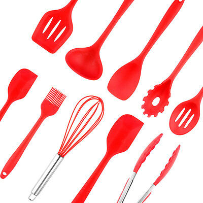 10pcs Silicone Kitchen Utensil Set Cooking Baking Tool Spoon Spatula Ladle Whisk